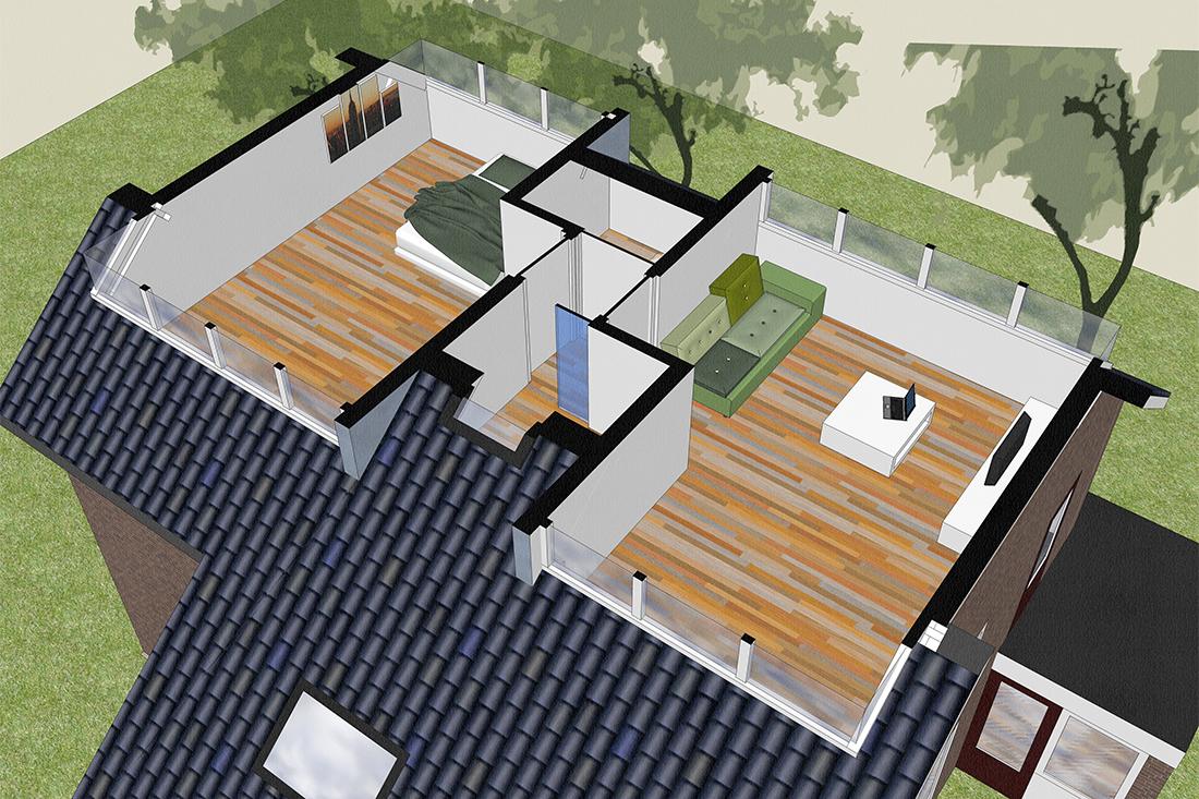Projecttekening - Zolderverbouwing -Kraal architecten - Driebergen 02
