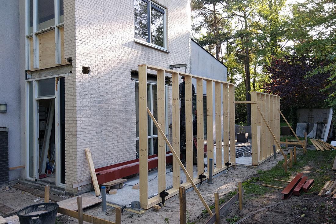 houten skelet uitbouw