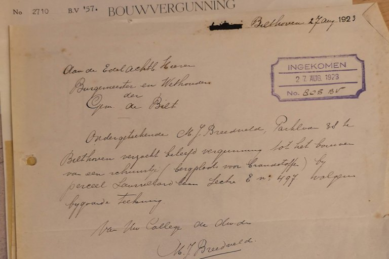 oude brief over bouwvergunning