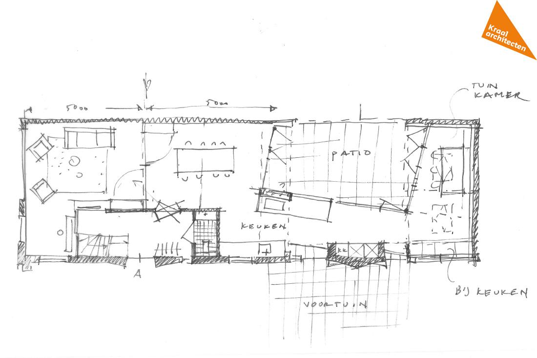 schets plattegrond architect