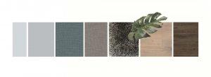 collage van kleuren en materialen in het interieur