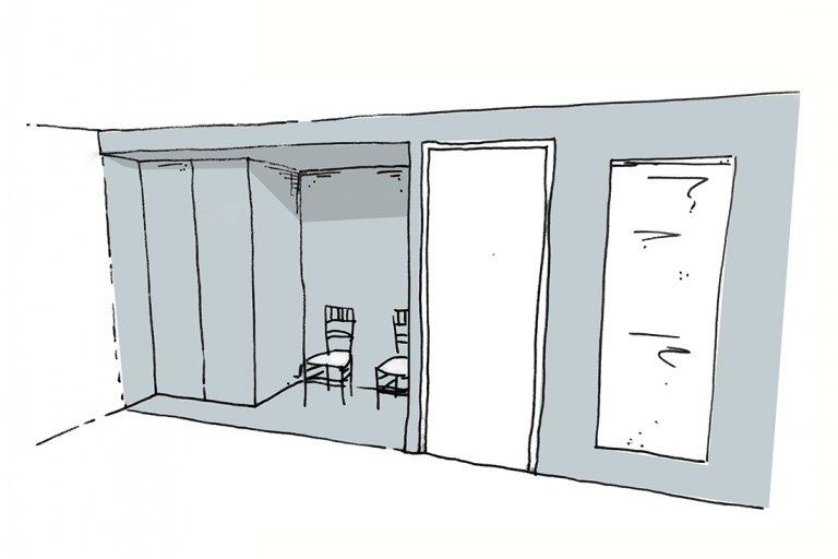 schets van nis met zitje in slaapkamer