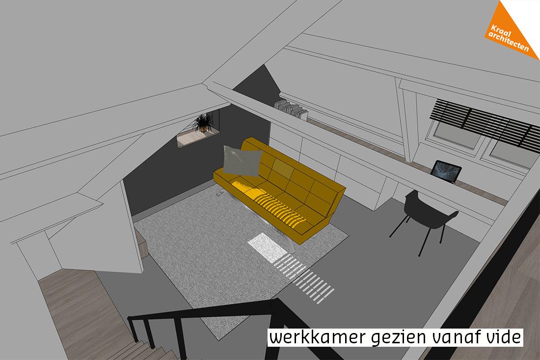 ontwerp werkkamer gezien vanaf vide