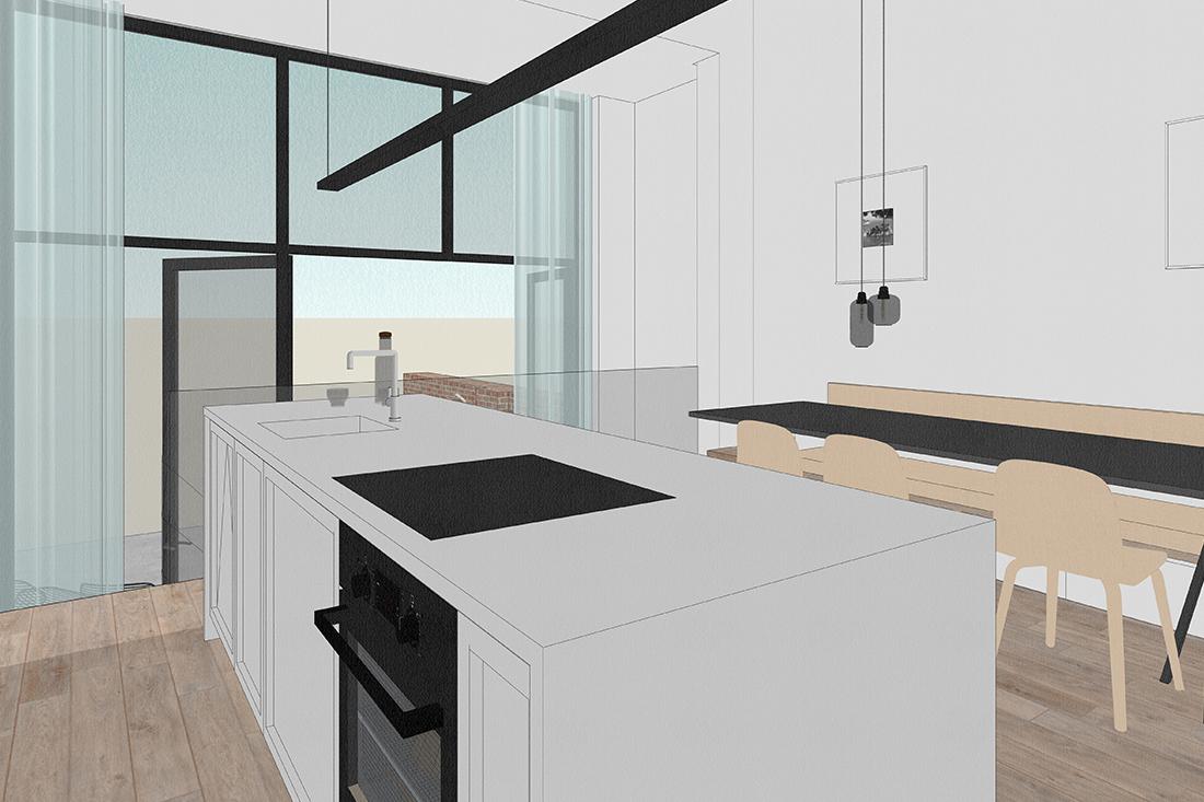 keukeneiland met gootsteen, oven en vaatwasser