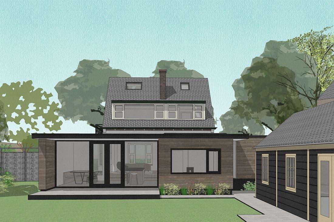 ontwerp uitbreiding vrijstaande woning door kraal architecten