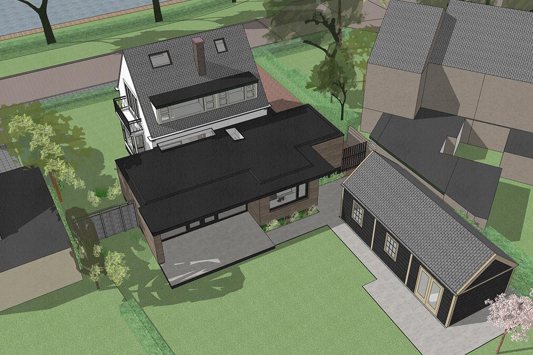 ontwerp uitbreiding woning vanuit de lucht gezien